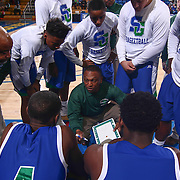 St. Georges Hawks Head Coach ROD GRIFFIN draws up a play in the huddle during a time time out in the mist of the first half of a Boys Basketball DIAA State Tournament Finals match between the Sanford Warriors and the St. Georges Hawks Saturday, Mar. 12, 2016, at The Bob Carpenter Sports Convocation Center in Newark, DEL.