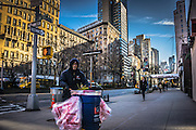 street cleaner on the Upper West Side in New York City