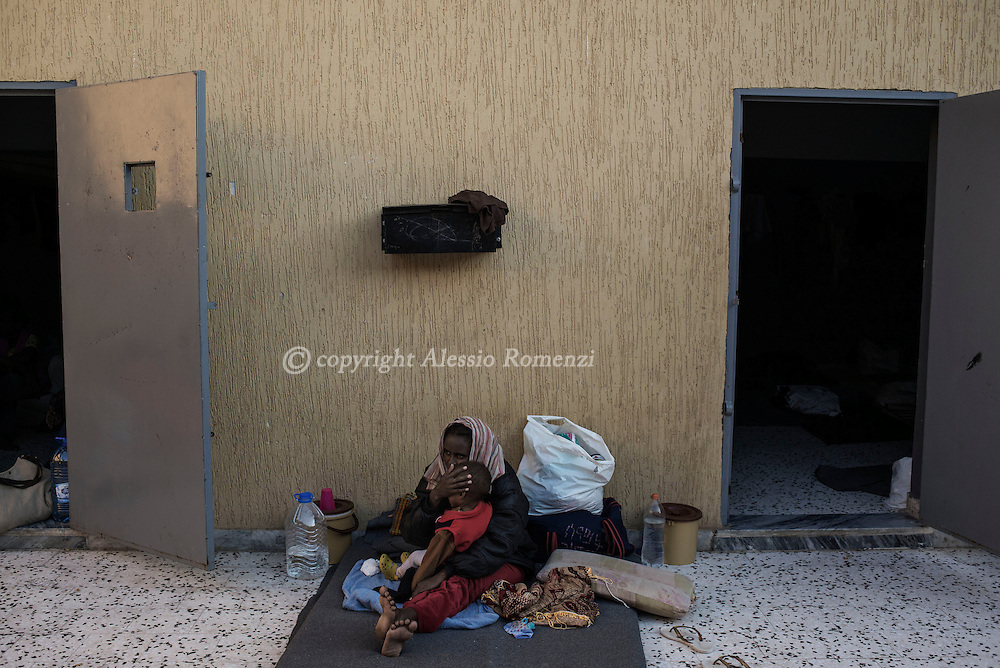 Libya, Garabulli: Inside view of Alguaiha detention center where migrants captured at the sea as they were attempting to reach Italy are kept on May 12, 2015. Alessio Romenzi