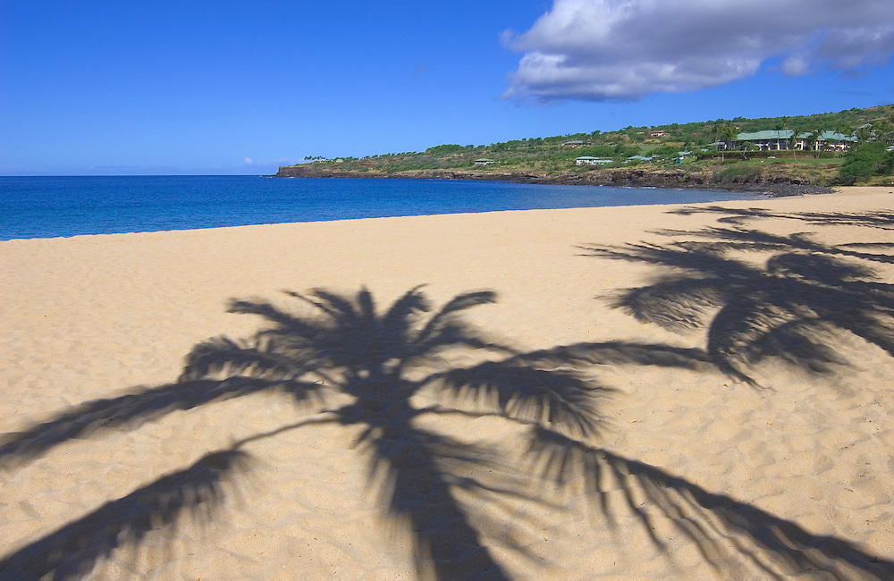 Manele Bay Beach Park and Four Seasons Resort Lanai at Manele Bay hotel; Island of Lanai, Hawaii.