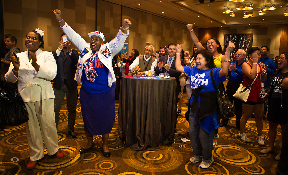 Supporters cheer as positive numbers roll in as the Nevada State Democratic Party hosts its 2016 election night watch party with Hillary for Nevada, Catherine Cortez Masto for Senate, and down-ballot Democratic candidates in Southern Nevada at ARIA Resort and Casino on Tuesday, Nov. 8, 2016. L.E. Baskow
