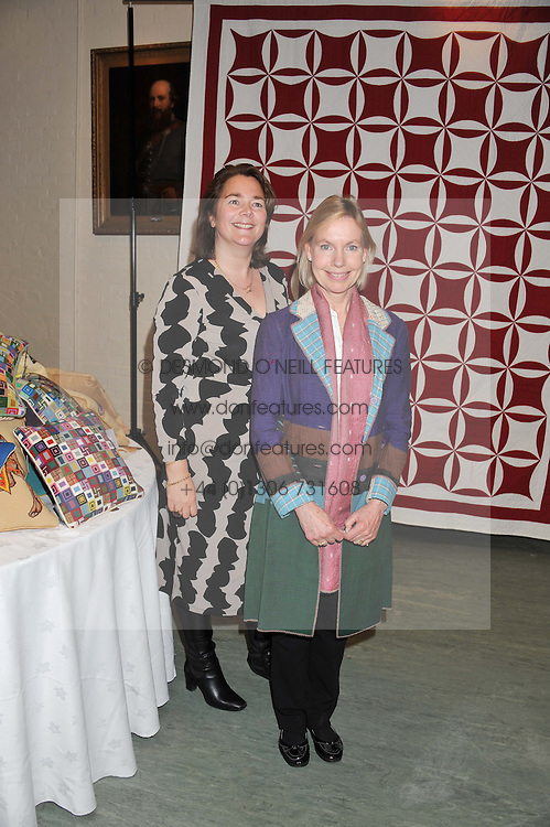 Left to right, HARRIET PARKER and LADY PARKER at a reception to view and buy cushions, quilts, bags and gifts Hand-stitched in British prisons held at The Riffles Club, 56 Davies Street, London W1 on 26th April 2012.