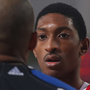 Maine Red Claws Forward MALCOLM MILLER (13) speaks with the official in the second half of a NBA D-league regular season basketball game between the Delaware 87ers and the Maine Red Claws  Friday, Feb. 05, 2016 at The Bob Carpenter Sports Convocation Center in Newark, DEL.