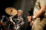 """Drummer Lou Grassi during check-sound. """"Jazz ao Centro"""" jazz festival is held twice a year in portuguese town of Coimbra."""