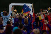 Pope Benedict XVI is greeted by enthusiastic crowds as he arrives in his Popemobile Greeted by crowds in Hyde Park during his papal tour of Britain 2010, the first visit by a pontiff since 1982. Taxpayers footed the £10m bill for non-religious elements, which largely angered a nation still reeling from the financial crisis. Pope Benedict XVI is the head of the biggest Christian denomination in the world, some one billion Roman Catholics, or one in six people. In Britain there are about five million Catholics but only a quarter of Catholics regularly attend Sunday Mass and some churches have closed owing to spending cuts.