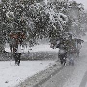 Israelis walk during snow storm in Jerusalem. December 12, 2013.  Photo by Oren Nahshon