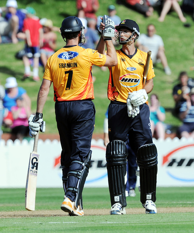 Firebirds James Franklin, left and Grant Elliott celebrate their teams first season win over the Aces in the HRV Twenty20 cricket match at the Basin Reserve, Wellington, New Zealand, Wednesday, December 28, 2011. Credit:SNPA / Ross Setford