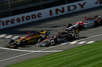Bryan Herta, Danica Patrick and Dan Wheldon race at the Michigan International Speedway, Firestone Indy 400, July 31, 2005