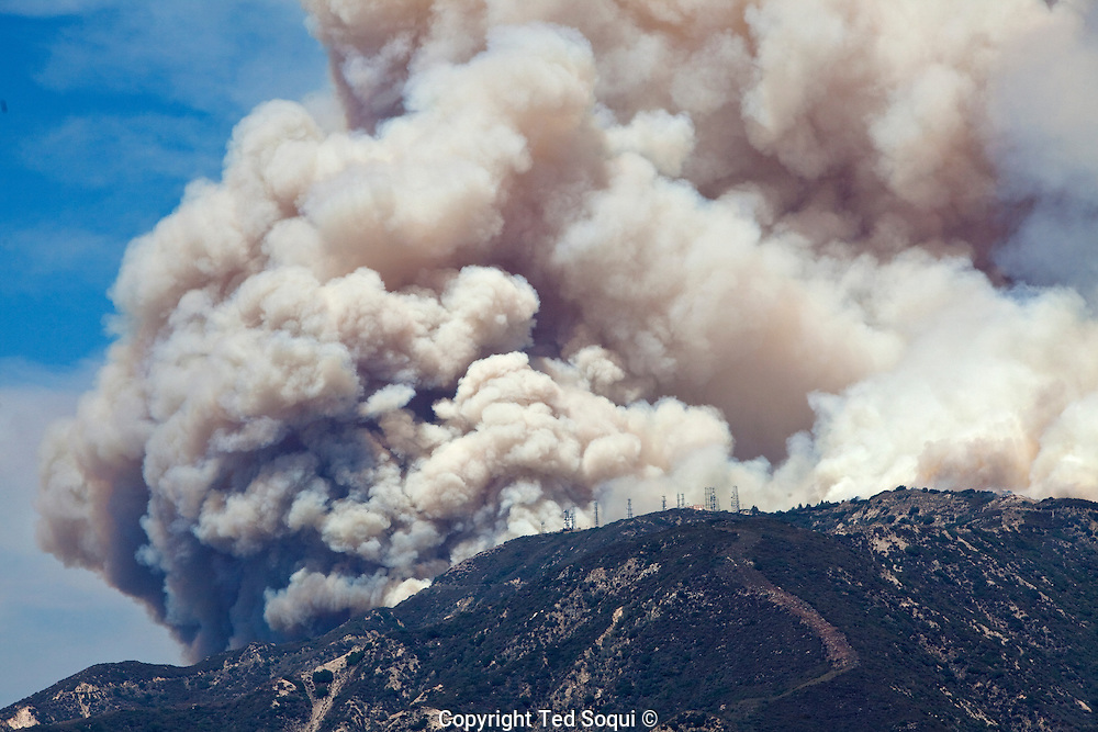 Mt. Lukens near La Cresenta..The Station fire burns in the hills above Los Angeles. The city has experienced above normal summer temperatures and low humidity. This is a fuel driven fire, no Santa Ana winds are expected till late September