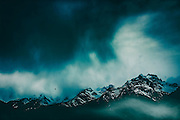 dark misty mountains - Italian alps near Chiesa on a stormy spring day<br /> Society6 prints: https://society6.com/product/wild-peaks_print#1=45<br /> Redbubble prints: http://www.redbubble.com/people/dyrkwyst/works/22007007-wild-peaks?ref=recent-owner