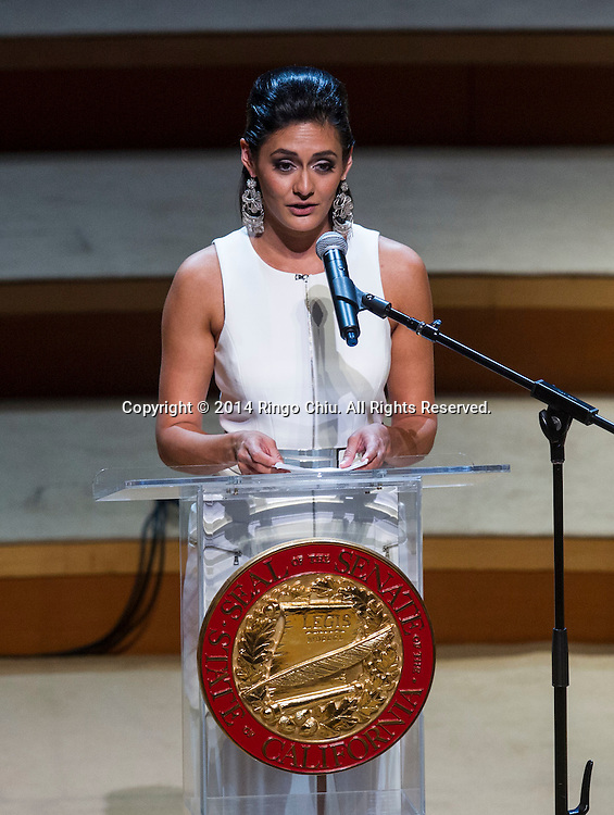 Democratic Sen. Kevin de Leon's daughter Lluvia Carrasco speaks in ceremony for de Leon, the 47th President pro Tempore of the California State Senate,  Wednesday, October. 15, 2014, in Los Angeles, California.  de Leon has been sworn in as the first Latino to head the California Senate in more than a century with an expensive and out-of-the-ordinary soiree in downtown Los Angeles. The Wednesday night ceremony was held at Walt Disney Concert Hall with an estimated price tag of $50,000, unlike previous, usually low-key ceremonies at the state Capitol.<br />  (Photo by Ringo Chiu/PHOTOFORMULA.com)