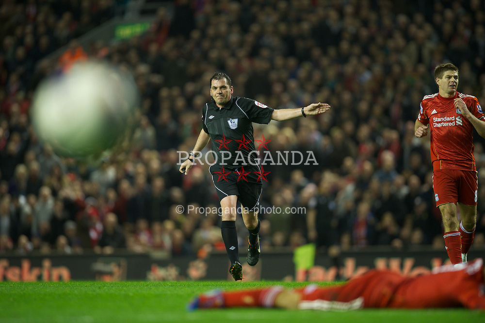 LIVERPOOL, ENGLAND - Tuesday, March 13, 2012: Referee Phil Dowd during the Premiership match between Liverpool and Everton at Anfield. (Pic by David Rawcliffe/Propaganda)