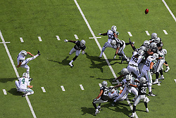 EAST RUTHERFORD, NJ - SEPTEMBER 7: Nick Folk (2) of the New York Jets kicks a field goal during a game against the Oakland Raiders at MetLife Stadium on September 7, 2012 in East Rutherford, NJ.  (Photo by Ed Mulholland/Getty Images)