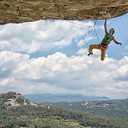 "Chris Sharma climbing ""The Warm Up"" (8a)(13b) at Cova de Ocell near Barcelona Spain"