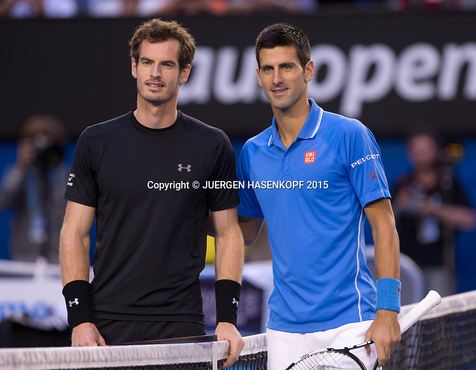 Andy Murray (GBR) und Novak Djokovic (SRB)<br /> <br /> Tennis - Australian Open 2015 - Grand Slam ATP / WTA -  Melbourne Olympic Park - Melbourne - Victoria - Australia  - 1 February 2015.