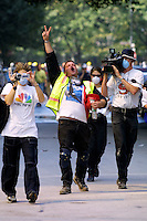 13 September 2001: Rescue worker celebrates that they have found two people alive in the rubble following the Terrorist attack on the America's.  Lower Manhattan, NY. Area surrounding ground zero where the World Trade Centers WTC once stood only hours after they fell to the ground in New York.  Islamic terrorist Osama bin Laden declares The Jihad or Holy War against The United States of America on September 11, 2001. Headline news photos available for editorial use.