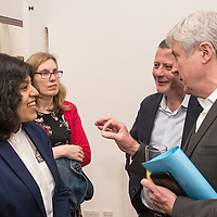 BBC DG Tony Hall chats with students at the BBC Academy Local Apprenticeship Scheme Awards 2016 at The Custard Factory, Old Library, Birmingham, 24th, February.2016