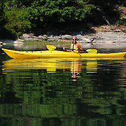Kayaker off New Castle, NH (Leeche's Island in background)