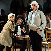 """Jennifer Zetlan (soprano) as """"Mozart"""", Ashraf Sewailam (bass-baritone) as """"Beethoven"""" and Dominic Armstrong (tenor) as """"Haydn"""" in the world premiere of Steven Stucky and Jeremy Denk's The Classical Style: An Opera (of Sorts) at the 68th Ojai Music Festival at Libbey Bowl on June 13, 2014 in Ojai, California."""