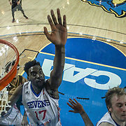 Delaware 87ers Forward Norvel Pelle (17) attempts and blocks one of four shot attempts in the second half of a NBA D-league regular season basketball game between the Delaware 87ers and the Erie BayHawk (Orlando Magic) Friday, Mar. 20, 2015 at The Bob Carpenter Sports Convocation Center in Newark, DEL.