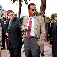 Eritrean President Issaias Afewerki (front right) with UN Special envoy Richard Holbrook (front left) in Asmara, Eritrea, during a bid to end the conflict between Eritrea and Ethiopia who were involved in a border war from 1998 to 2000.