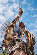 Statue of Native American man, made of scrap metal, by artist Jay Laber, created for the Lewis & Clark Bicentennial; Broadwater Overlook Park, Great Falls, Montana.