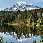 Reflection Lakes (4854 feet), Lakes Trail, Mazama Ridge, on the park road southeast of Paradise, Mount Rainier National Park, Washington, USA.