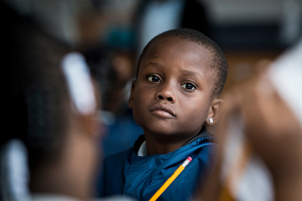 Student in class at Turner Elementary School in Washington, D.C. on May 4, 2017.