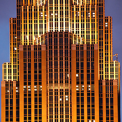 Wells Fargo Tower, formerly the Norwest Tower lit at night