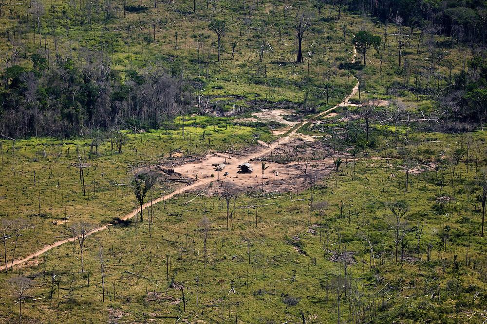 Rainforest has been cleared from around this house near Fazenda Sao Joaquim, Mato Grosso, Brazil, Aug. 6, 2008..Daniel Beltra/Greenpeace
