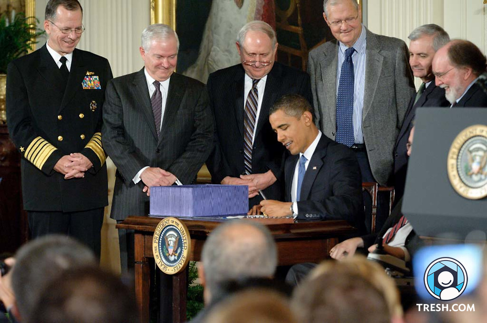 President Barack Obama signs the Fiscal Year 2010 National Defense Authorization Act, which includes the Matthew Shepard and James Byrd Jr. Hate Crimes Prevention Act, in the East Room of the White House, Wednesday, October 28, 2009.
