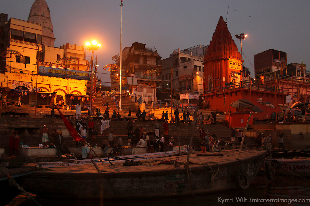 Asia, India, Varanasi.  Early morning life on the Ganges river banks of Varanasi.