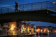 Murano island. Formia glass factory., the local Great Canal at night, empty of tourists. In the night in Murano's village live only the local families, working with glass factories and daily tourism.
