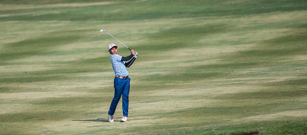 M. Afif Mohd Fathi of Malaysia in action during day two of the 10th Faldo Series Asia Grand Final at Faldo course on 03 March of 2016 in Shenzhen, China. Photo by Xaume Olleros.