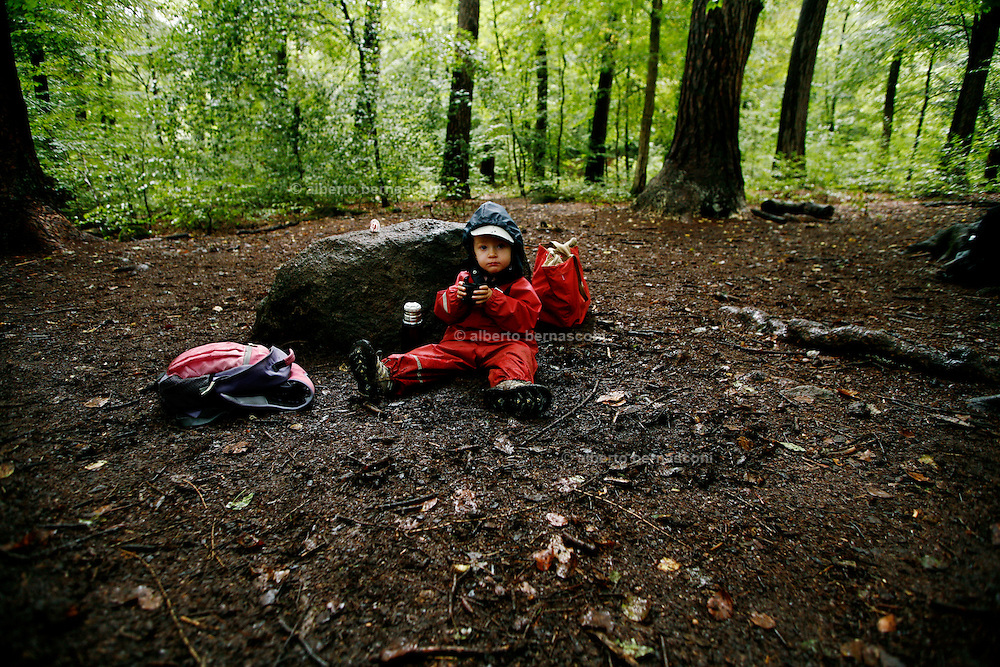 Svizzera, asilo nel bosco, Zurigo. ...... Switzerland, Zurich, every day the children leave the kindergarten and walk for more than one Kilometre, in order to continue the day in the wood..