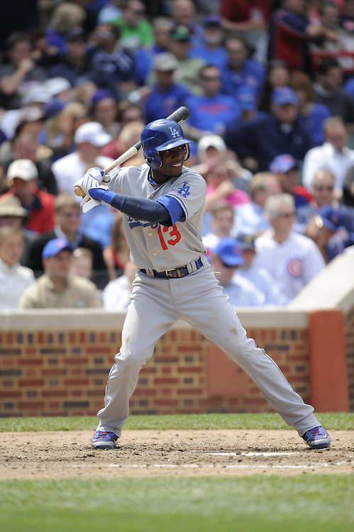 CHICAGO - MAY 29:  Orlando Hudson #13 of the Los Angeles Dodgers bats against the Chicago Cubs on May 29, 2009 at Wrigley Field in Chicago, Illinois.  The Cubs defeated the Dodgers 2-1.  (Photo by Ron Vesely)