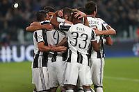 Torino - Champions League -  Juventus-Lione - Nella foto: L'esultanza dei  giocatori della Juventus