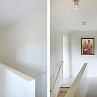 Upstairs hall way and stairs of Rhode Island Coastal Home