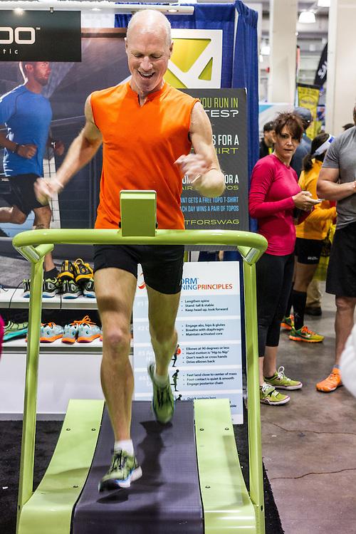Boston Marathon: Expo, treadmill at Topo booth