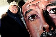 25-4-2016 Eindhoven British comedian and actor John Cleese at the opening of the Dommel Tunneltje, a connection for cyclists and pedestrians between TU Eindhoven and pop music venue De Effenaar. On the walls of the tunnel have graffiti artists a sketch (the silly walks) pictured from Monty Python Cleese. copyright Robin Utrec<br /> 25-4-2016 eindhoven De Britse komiek en acteur John Cleese bij de opening van het Dommeltunneltje, een verbinding voor fietsers en voetgangers tussen de TU Eindhoven en poppodium De Effenaar. Op de wanden van het tunneltje hebben graffiti artiesten een sketch (de silly walks) uit Monthy Python van Cleese afgebeeld.  copyright robin utrecht
