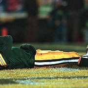 (1999)-Green Bay's Brett Favre in the end zone after  a fourth quarter interception.