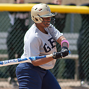 Goldey-Beacom Utility player Asia Ellis (9) at bat in the third inning of game #1 of NCAA Central Atlantic Collegiate Conference (doubleheader) against Post University Saturday, March 30, 2013, at Nancy Churchmann Sawin Athletic Field in Wilmington Delaware.