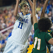 Delaware Junior Forward Elena Delle Donne (11) draws contact in the paint from George Mason Forward Amber Easter (4) in the second half of an NCAA college basketball game against George Mason Thursday, Feb. 23, 2012, at the Bob Carpenter Center in Newark, Del. (AP Photo/Saquan Stimpson)