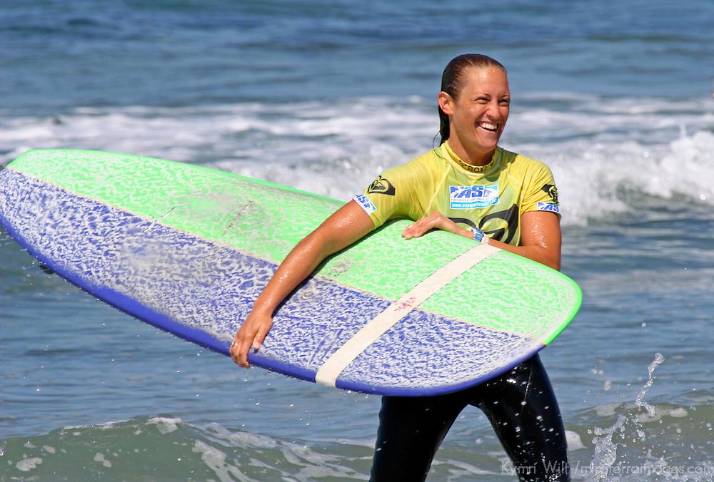 Cori Schumacher, winner of the 3rd Annual Roxy Jam Linda Benson Women's World Longboard Professional, 2008, Cardiff by the Sea, California.