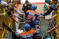 KELOWNA, CANADA - OCTOBER 2: Connor McDavid #97 and Ryan Nugent-Hopkins #93 of the Edmonton Oilers enter the ice for warm up against Los Angeles Kings on October 2, 2016 at Kal Tire Place in Vernon, British Columbia, Canada.  (Photo by Marissa Baecker/Shoot the Breeze)  *** Local Caption *** Connor McDavid; Ryan Nugent-Hopkins;