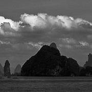 Mountains emerging from the Andaman Sea, Phuket, Thailand