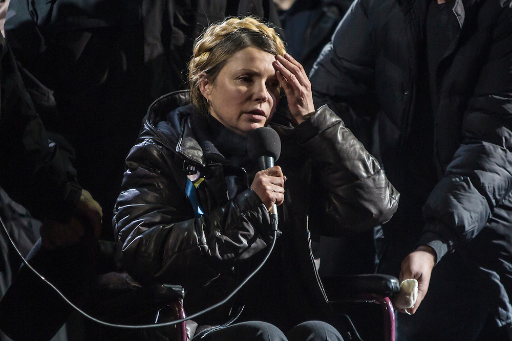 KIEV, UKRAINE - FEBRUARY 22: Former Prime Minister Yulia Tymoshenko addresses anti-government protesters on Independence Square on February 22, 2014 in Kiev, Ukraine. The leader of the 2004 Orange Revolution against current embattled President Viktor Yanukovych traveled to Kiev to address the crowd immediately after being released from prison on what many claim were politically motivated charges. (Photo by Brendan Hoffman/Getty Images) *** Local Caption *** Yulia Tymoshenko