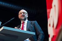 22 MAR 2017, BERLIN/GERMANY:<br /> Martin Schulz, SPD Parteivorsitzender und Spitzenkandidat der SPD zur Bundestagswahl, haelt eine Rede auf dem Neumitgliedertreffen der Berliner SPD, Festsaal Kreuzberg<br /> IMAGE: 20170322-02-096<br /> KEYWORDS: Martin Schulz, speech, Kanzlerkandidat, candidate