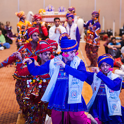 Hindu devotees perform during the celebrations of  Swaminarayan Jayanti at Neasden Temple in London. The ceremony culminates with the arti at 10.10pm, signifying the precise time Bhagwan Swaminarayan chose to be born to mother Bhaktimata in the small north Indian village of Chhapaiya.