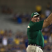 Jacksonville University Head Coach KERWIN BELL attempts to call a time out in the fourth quarter of a Week 1 NCAA football game against Delaware. <br />